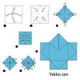 Instrucciones paso a paso cómo hacer a la mafia Japón de la papiroflexia Imagen de archivo