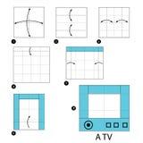 Instrucciones paso a paso cómo hacer la papiroflexia A TV Fotos de archivo libres de regalías