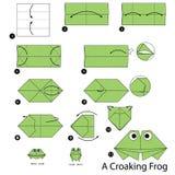 instrucciones paso a paso cómo hacer la rana que croa de la papiroflexia A Imágenes de archivo libres de regalías