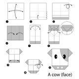 Instrucciones paso a paso cómo hacer la vaca de la papiroflexia Foto de archivo libre de regalías