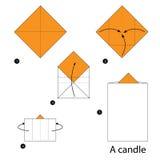 Instrucciones paso a paso cómo hacer papiroflexia a la vela Fotografía de archivo libre de regalías