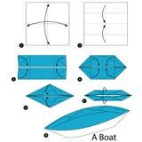 Instrucciones paso a paso cómo hacer papiroflexia un barco Imagen de archivo