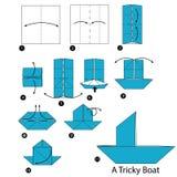 Instrucciones paso a paso cómo hacer papiroflexia un barco difícil Fotos de archivo libres de regalías