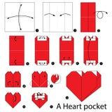 Instrucciones paso a paso cómo hacer papiroflexia un bolsillo del corazón Fotografía de archivo libre de regalías