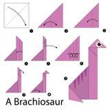Instrucciones paso a paso cómo hacer papiroflexia un Brachiosaur Imagen de archivo libre de regalías