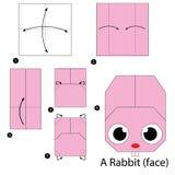 Instrucciones paso a paso cómo hacer papiroflexia un conejo Imagen de archivo