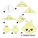 Instrucciones paso a paso cómo hacer papiroflexia un conejo Foto de archivo libre de regalías