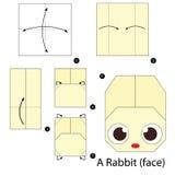 Instrucciones paso a paso cómo hacer papiroflexia un conejo Imágenes de archivo libres de regalías
