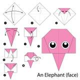 Instrucciones paso a paso cómo hacer papiroflexia un elefante Imágenes de archivo libres de regalías