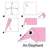 Instrucciones paso a paso cómo hacer papiroflexia un elefante Foto de archivo