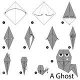Instrucciones paso a paso cómo hacer papiroflexia un fantasma Fotografía de archivo