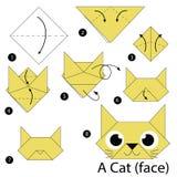 Instrucciones paso a paso cómo hacer papiroflexia un gato Foto de archivo