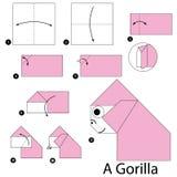 Instrucciones paso a paso cómo hacer papiroflexia un gorila Imágenes de archivo libres de regalías
