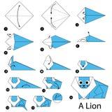 Instrucciones paso a paso cómo hacer papiroflexia un león Foto de archivo libre de regalías