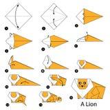 Instrucciones paso a paso cómo hacer papiroflexia un león Imagen de archivo libre de regalías