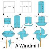 Instrucciones paso a paso cómo hacer papiroflexia un molino de viento Imagen de archivo