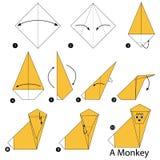 Instrucciones paso a paso cómo hacer papiroflexia un mono Imagen de archivo libre de regalías