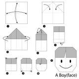 Instrucciones paso a paso cómo hacer papiroflexia a un muchacho Imágenes de archivo libres de regalías