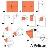 Instrucciones paso a paso cómo hacer papiroflexia un pelícano Fotografía de archivo libre de regalías