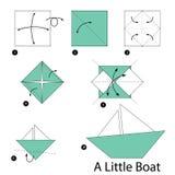 Instrucciones paso a paso cómo hacer papiroflexia un pequeño barco Imagen de archivo