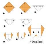 Instrucciones paso a paso cómo hacer papiroflexia un perro Imagen de archivo libre de regalías
