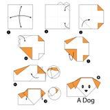 Instrucciones paso a paso cómo hacer papiroflexia un perro Imagenes de archivo