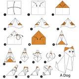 Instrucciones paso a paso cómo hacer papiroflexia un perro Fotografía de archivo