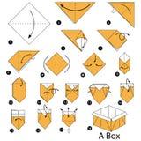 Instrucciones paso a paso cómo hacer papiroflexia una caja Fotografía de archivo libre de regalías