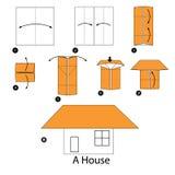 Instrucciones paso a paso cómo hacer papiroflexia una casa Imágenes de archivo libres de regalías