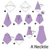 Instrucciones paso a paso cómo hacer papiroflexia una corbata Imágenes de archivo libres de regalías