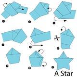 Instrucciones paso a paso cómo hacer papiroflexia una estrella Imagen de archivo libre de regalías