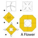 Instrucciones paso a paso cómo hacer papiroflexia una flor Fotografía de archivo libre de regalías