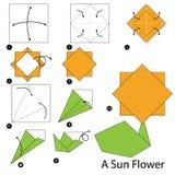 Instrucciones paso a paso cómo hacer papiroflexia una flor de Sun Fotografía de archivo