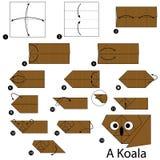 Instrucciones paso a paso cómo hacer papiroflexia una koala Imagen de archivo