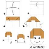 Instrucciones paso a paso cómo hacer papiroflexia a una muchacha Imagenes de archivo