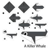 Instrucciones paso a paso cómo hacer papiroflexia una orca Foto de archivo libre de regalías