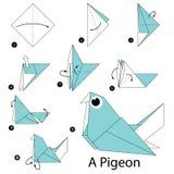 Instrucciones paso a paso cómo hacer papiroflexia una paloma Fotografía de archivo