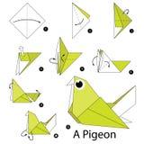 Instrucciones paso a paso cómo hacer papiroflexia una paloma Imagen de archivo