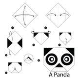 Instrucciones paso a paso cómo hacer papiroflexia una panda Foto de archivo