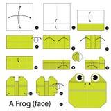 Instrucciones paso a paso cómo hacer papiroflexia una rana (cara) Fotografía de archivo