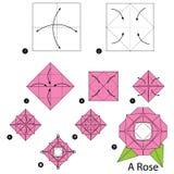 Instrucciones paso a paso cómo hacer papiroflexia a una Rose Imagen de archivo libre de regalías