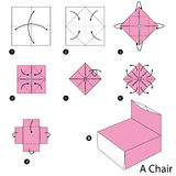 Instrucciones paso a paso cómo hacer papiroflexia una silla Fotos de archivo libres de regalías