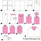 Instrucciones paso a paso cómo hacer papiroflexia una tarjeta del mensaje del corazón Fotos de archivo