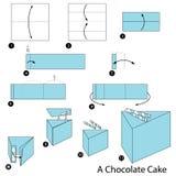 instrucciones paso a paso cómo hacer papiroflexia una torta de chocolate Foto de archivo