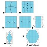 Instrucciones paso a paso cómo hacer papiroflexia una ventana Foto de archivo