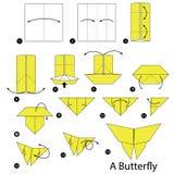 Instrucciones paso a paso cómo hacer papiroflexia una mariposa Fotografía de archivo libre de regalías