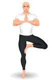 Instructeur de yoga se tenant dans la posture d'arbre illustration libre de droits