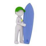 Instructeur Standing de ressac de bande dessinée avec la planche de surf Photographie stock