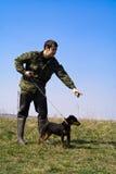 Instructies een hond stock afbeelding