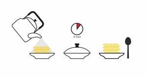 Instructies gekookte snelkokendeegwaren Giet kokend water in a royalty-vrije illustratie